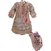~~~ Pretty French Silk Bebe Costume with matching Couture Bonnet ~~~
