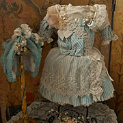 ~~~ Pretty French Bebe Silk Costume with Couture Bonnet ~~~