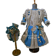 ~~~ Marvelous Elegant French Silk Bebe Costume with Bonnet ~~~