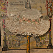 ~~~ Superb 19th. century French Silk and Lace Bebe Bonnet ~~~