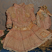 ~~~ Beautiful French Pink Silk Bebe Costume with Bonnet ~~~