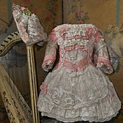 ~~~Romantic French Silk and Muslin Costume with Bonnet ~~~
