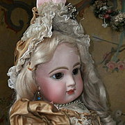 ~~~ Stunning French Couture Bebe Costume with Bonnet ~~~
