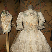 ~~~ Marvelous French Silk Costume with Bonnet ~~~