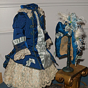 ~~~ Superb French Blue silk Costume with matching Bonnet ~~~