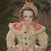 ~~~ Beautiful Early French Bisque Poupee in Gorgeous Winter-Costume ~~~