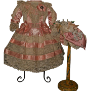 ~~~ Very Beautiful French Bebe Costume with Bonnet.... Pretty in Pink ....~~~
