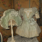 ~~~ Sea-Green French Silk Gown with Gorgeous Bonnet ~~~