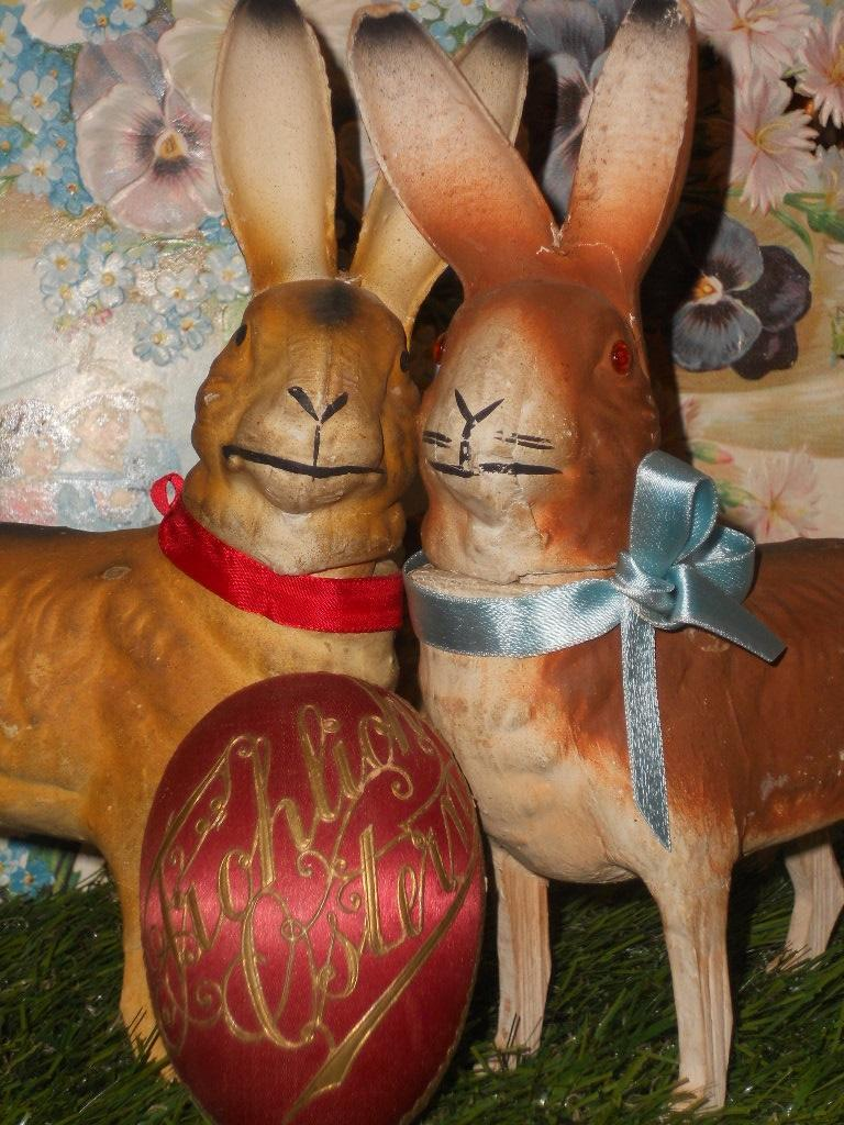 ~~~ Fine German Papier Mache Candy Container Bunny ~~~