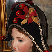 ~~~ Pretty Antique French Party Hat for Larger Doll ~~~