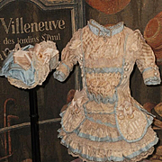 ~~~ Elegant French Silk Bebe Costume with Bonnet ~~~