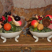 ~~~ Antique French Miniature Porcelain Fruit Bowls ~~~