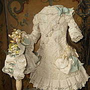 ~~~ Beautiful French Hand Embroidery Bebe Costume with Bonnet ~~~