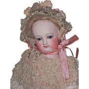 ~~~ Pretty Childlike French Bisque Poupee with original Fine Antique Costume ~~~
