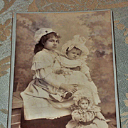~~~ Original Antique French Picture Card Girls with Jumeau Doll ~~~