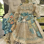 ~~~ Pretty French Bebe Silk Costume with matching Bonnet ~~~