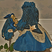 ~~~ Elegant French Two piece Bebe Silk Costume with Bonnet ~~~