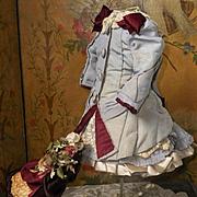 ~~~ Pretty Small French Bebe Silk Bustle Dress with Straw Bonnet ~~~