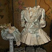 ~~~ Elegant French Silk Costume with High Brim Straw Bonnet ~~~