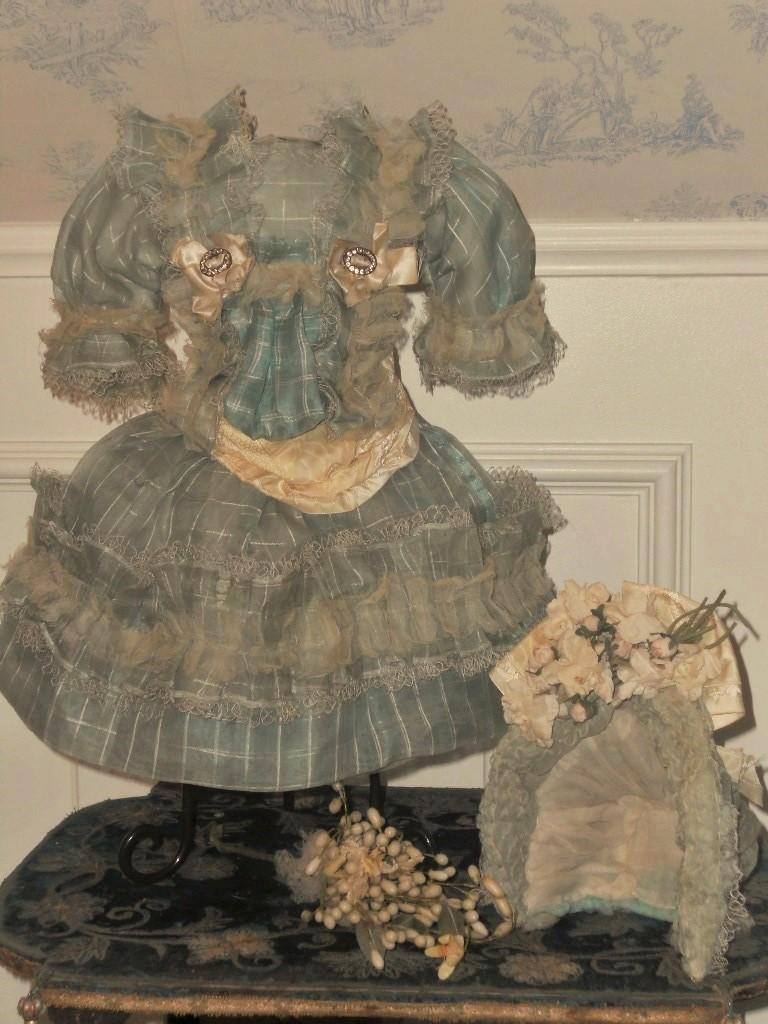 Very Beautiful French Bebe Silk Costume With Bonnet