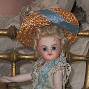 ~~~ Antique French all Bisque Mignonette in Original Aqua Silk Dress ~~~