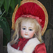 ~~~ Superb Large French Bisque Poupee with Original Gown and Parasol ~~~