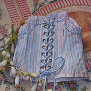 ~~~ Beautiful Cream and Blue Strips Bebe Silk Corset ~~~