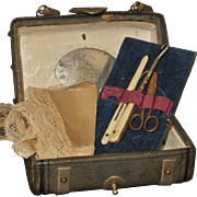 ~~~ Rare Small French Leather Traveling Sewing Necessaire with Contents ~~~