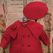 ~~~ Jumeau Factory Red Wool Coat Dress with Cap ~~~