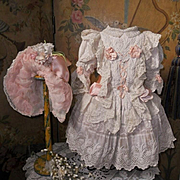 ~~~ Pretty French Hand Embroidery Muslin Bebe Costume with Bonnet ~~~
