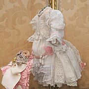 ~~~ Lovely French Hand Embroidered Muslin Dress with Silk Bonnet ~~~