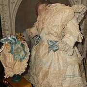 ~~~ Most Beautiful French Bebe Silk Costume with Bonnet ~~~