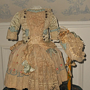 ~~~ Pretty French Bebe Silk and Muslin Costume with Bonnet ~~~