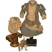 ~~~ Marvelous French Bebe Silk Costume with Lace Bonnet ~~~