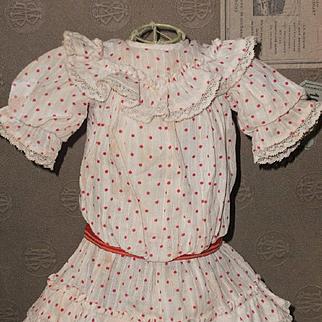 "~~~ Lovely Antique French Bebe Dress for 14""/15"" Doll ~~~"