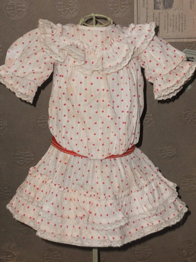 "~~~ Lovely Antique French Bebe Dress for 14""/15"" Doll ~~~"
