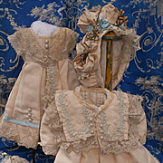 ~~~ Especially Beautiful 3 Piece French Bebe Silk Outfit size 10 Jumeau ~~~