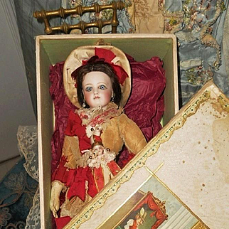 ~~~ Beautiful French Bisque Jumeau Poupee in original Condition in Presentation Box ~~~