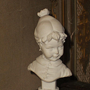 ~~~ Rare small all Bisque Girl Bust for Doll House Display ~~~