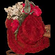 ~~~ Beautiful Antique French Jumeau Red Chiffon Silk Wire Bonnet ~~~