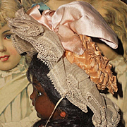 ~~~ Pretty Antique Variegated Straw Bonnet with Pink Silk Bow ~~~