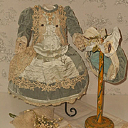 ~~~ Pretty French Silk Bebe Costume with Bonnet ~~~