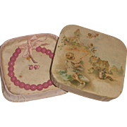 ~~~ Jumeau Factory Pink Bead Necklace and Earrings in Box ~~~