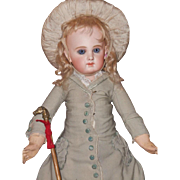 ~~~ Rare French Incised E.J. Bisque Bebe from Maison Jumeau with Trousseau ~~~