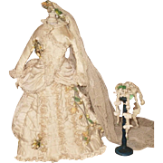 ~~~ Gorgeous Antique French Poupee Wedding Gown in Box ~~~