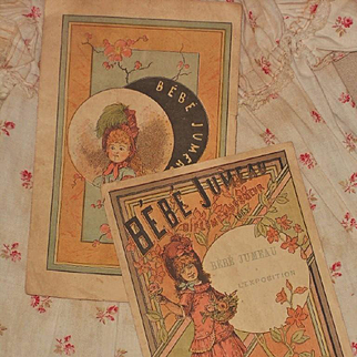 ~~~ Exceptional Rare Pair Bebe Jumeau Exposition Cards from 1885 ~~~