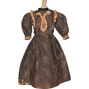 ~~~ Lovely Chocolate Brown and Cream Fashion Dress from 19th. century ~~~
