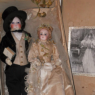 ~~~ Exceptional All Original French Bisque Poupee Wedding Pair in Original Box ~~~