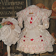 ~~~ Superb French Muslin Costume with Bonnet ~~~