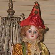 ~~~ Lovely French Bisque Harlequin Bebe in Original Costume ~~~
